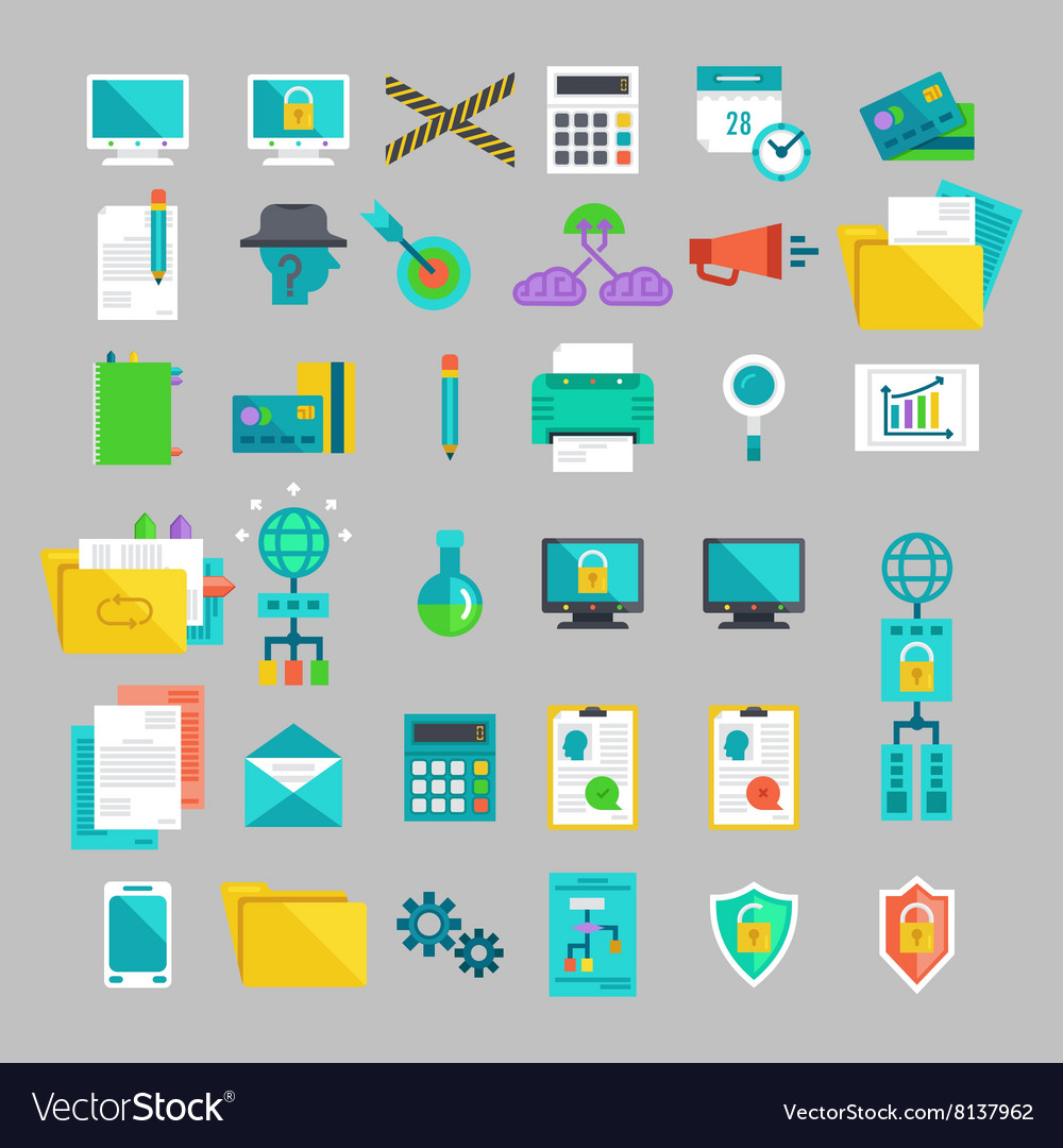 Flat icons set with concepts of business office vector