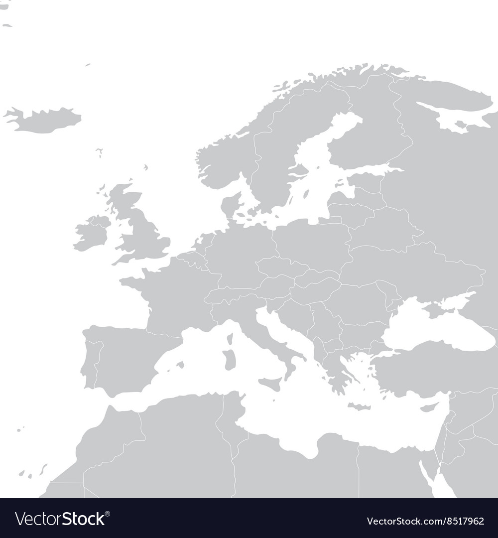 Grey political map of europe political europe map vector