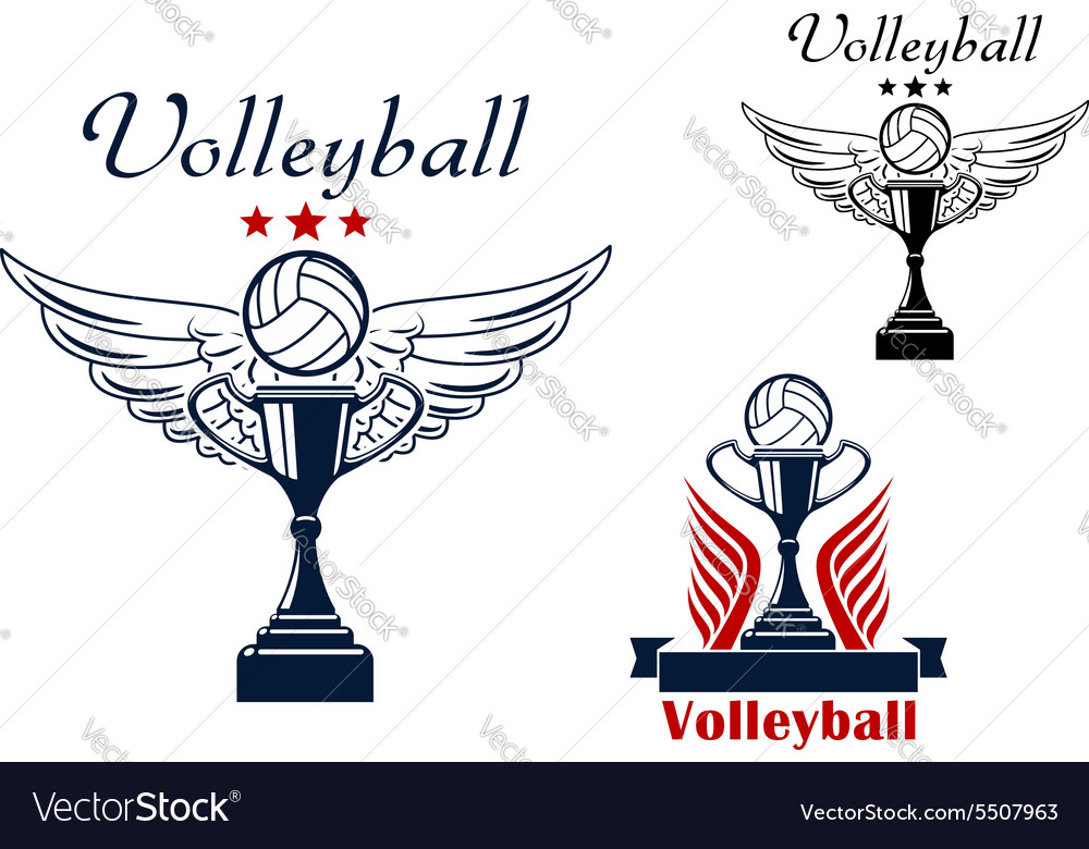Volleyball icon with trophy and winged ball vector