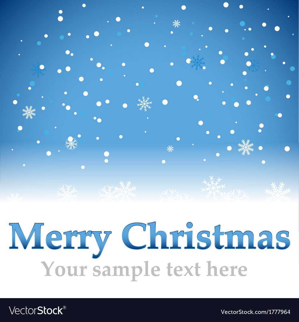 Christmas blue background with snow flakes vector