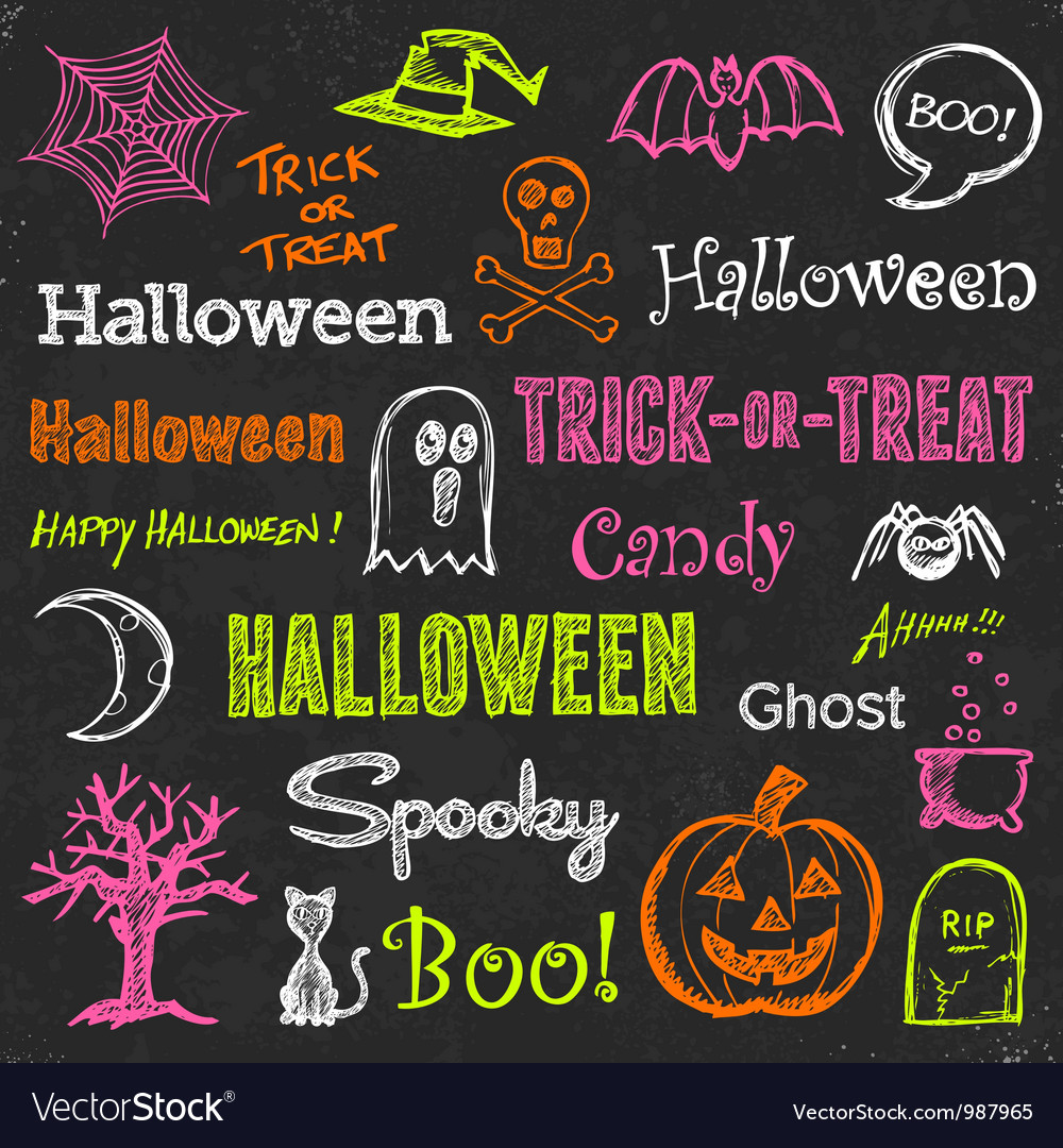 Halloween handdrawn elements vector