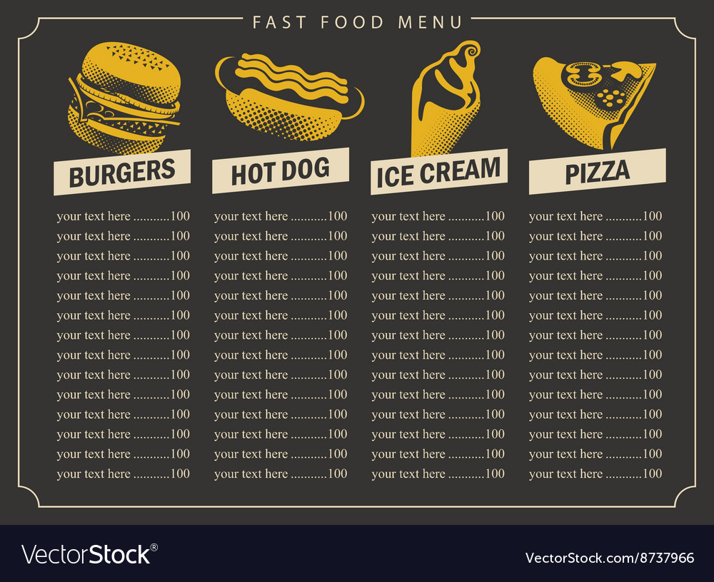 Fast food menu with price list vector