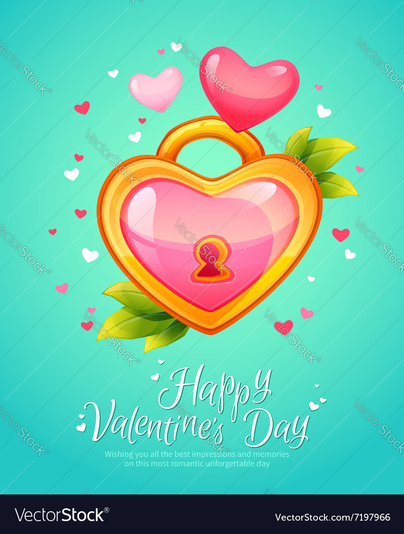 Romantic heart shaped lock with keyhole vector