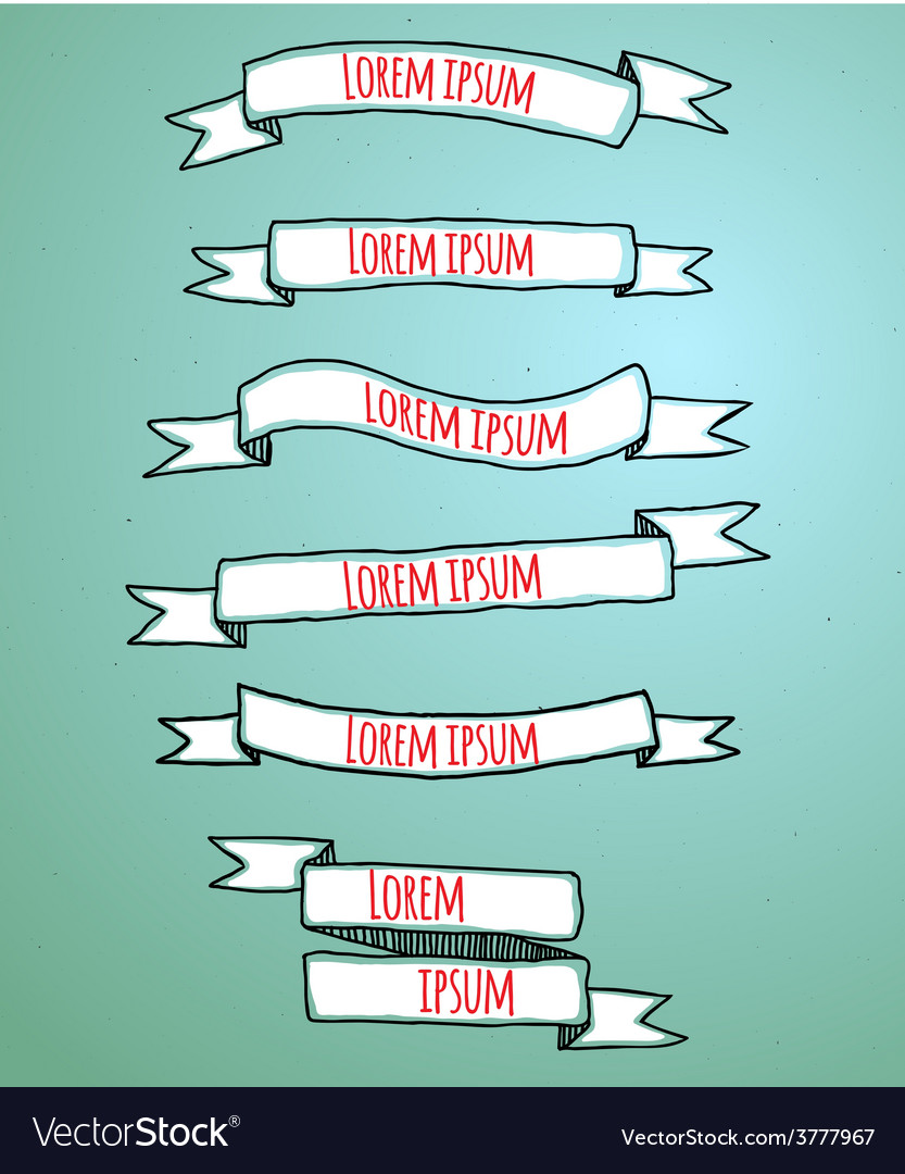 Set of the drawn ribbons vector