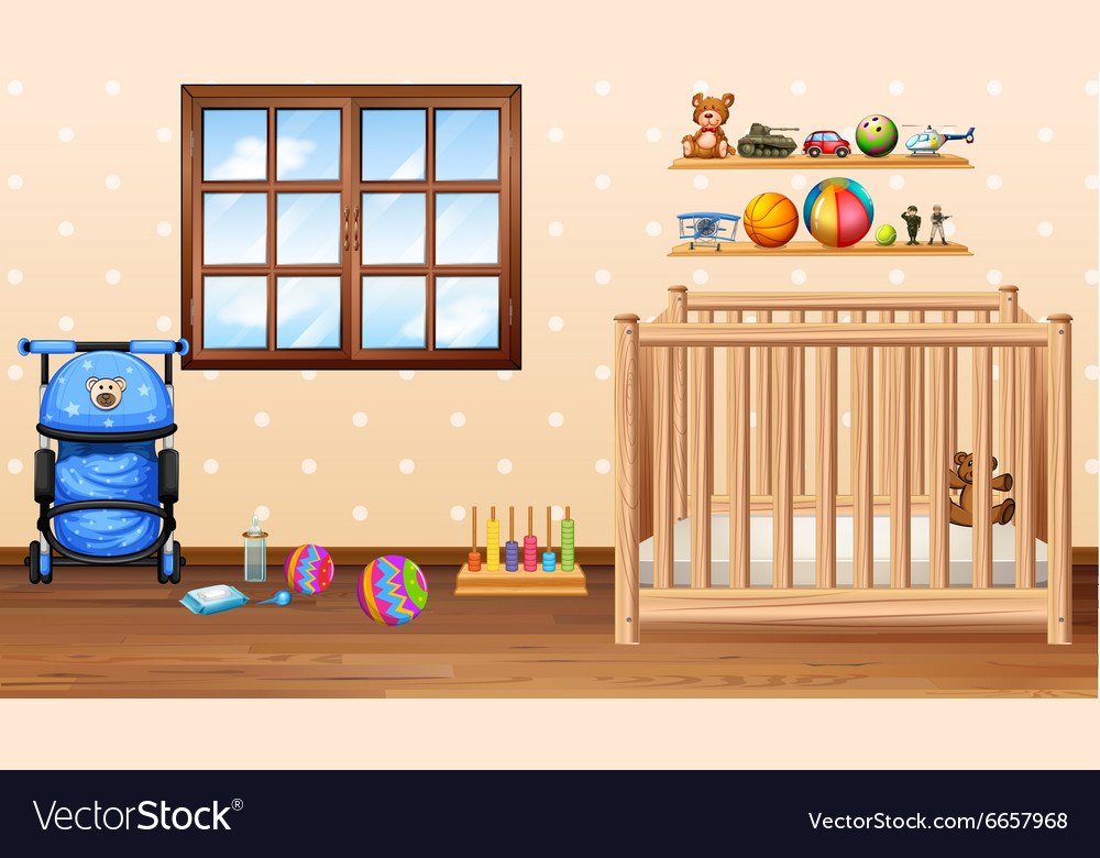 Baby room with cod and toys vector