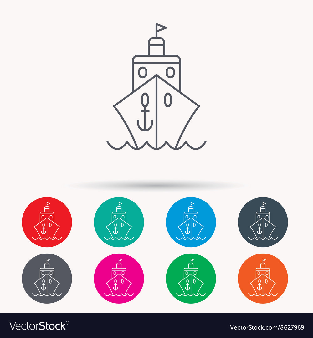 Cruise icon ship travel sign vector
