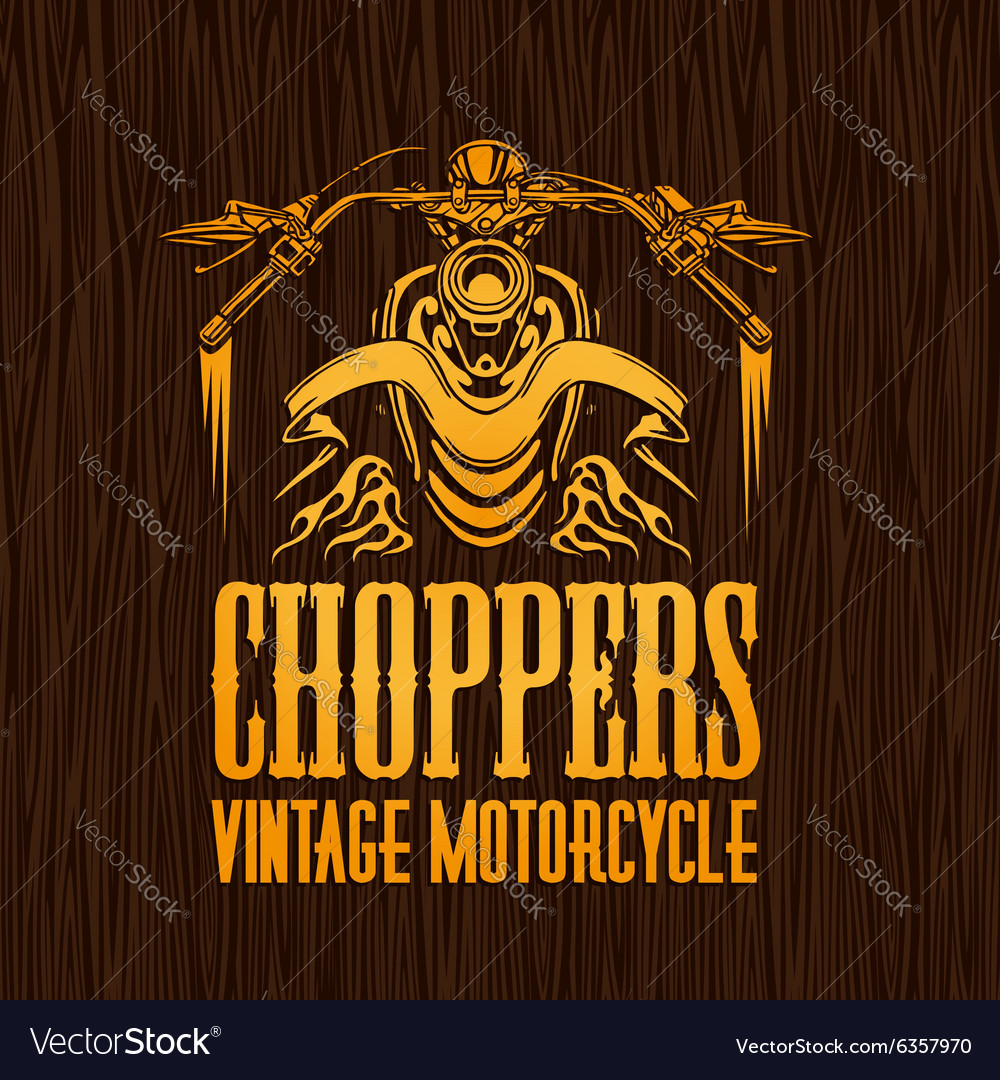 Gold vintage bikers badge on the wooden texture vector