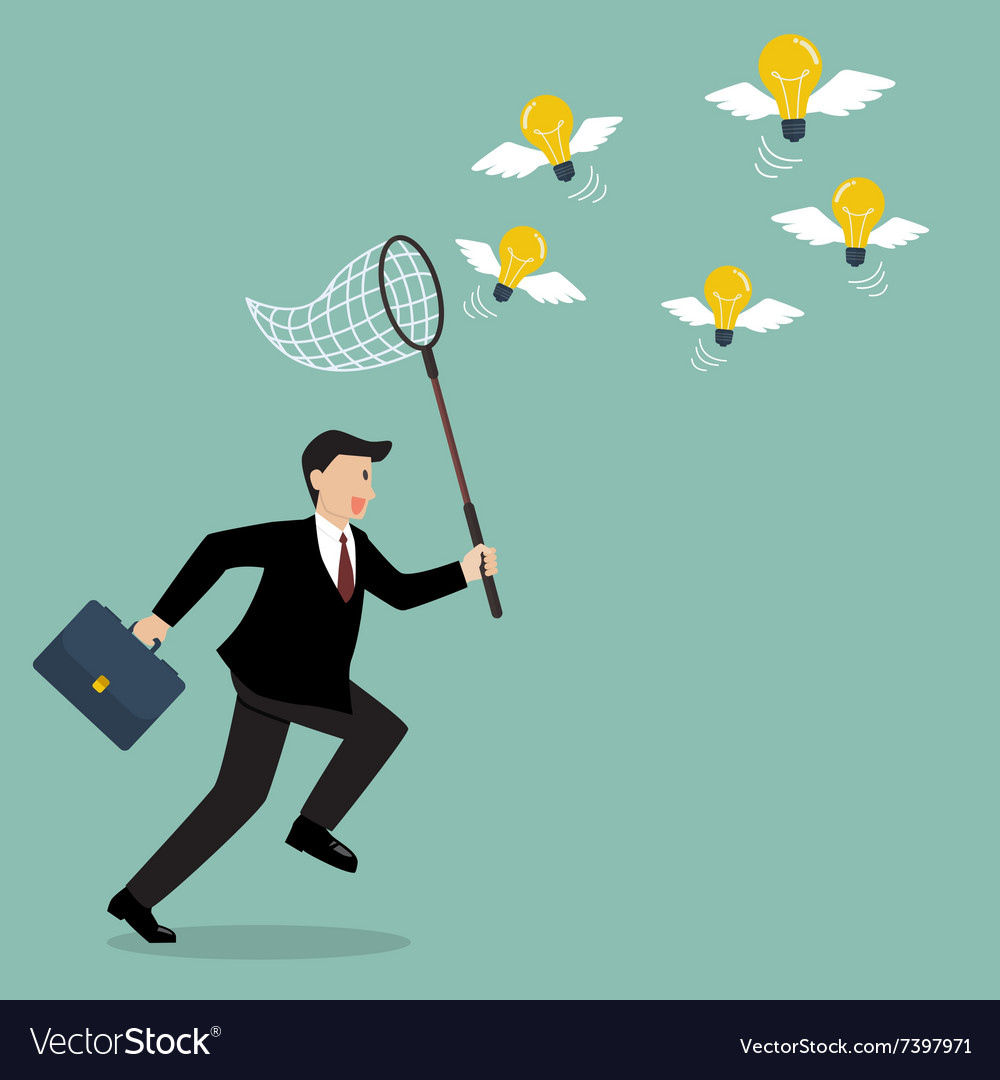 Businessman trying to catch lightbulb idea vector