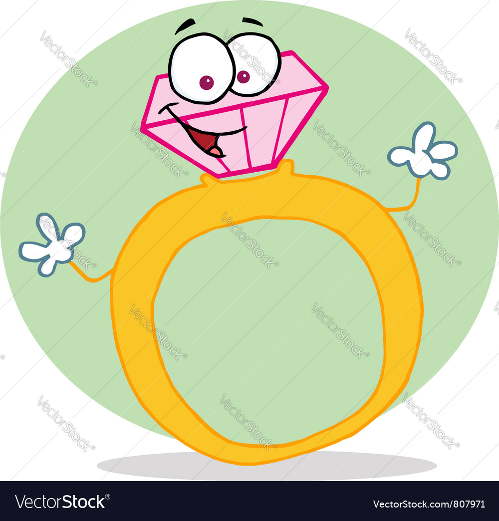 Gold and diamond ring vector