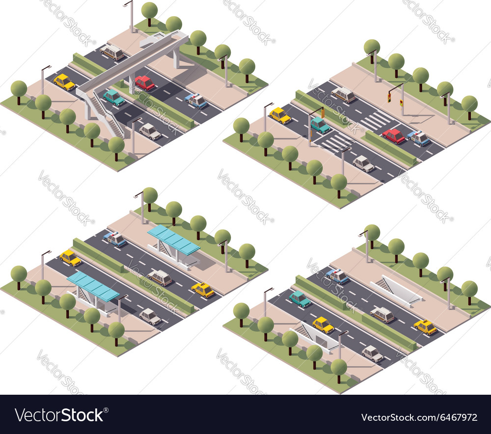 Isometric pedestrian crossings set vector