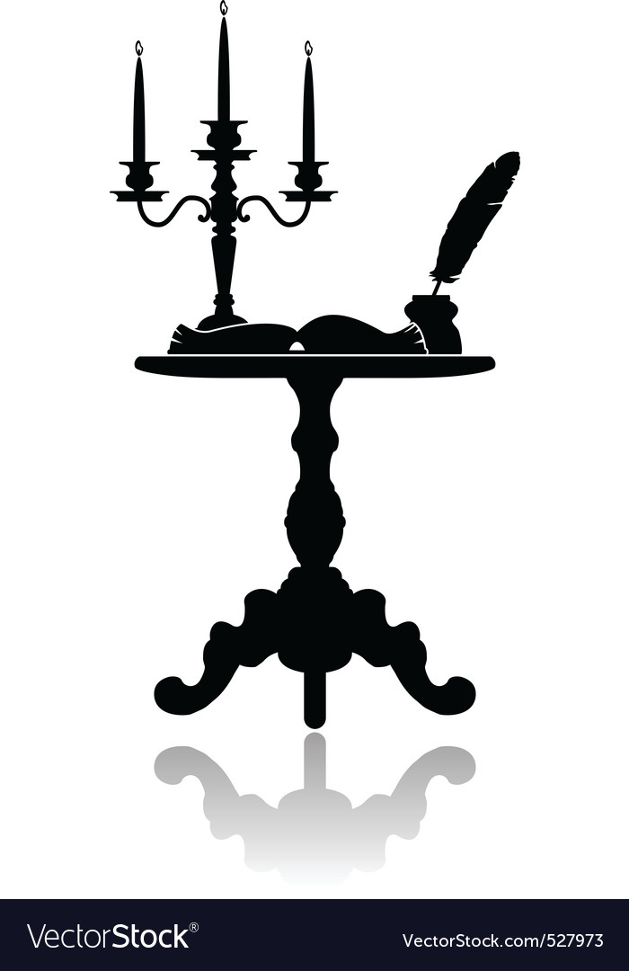 Coffee table with a candelabrum vector