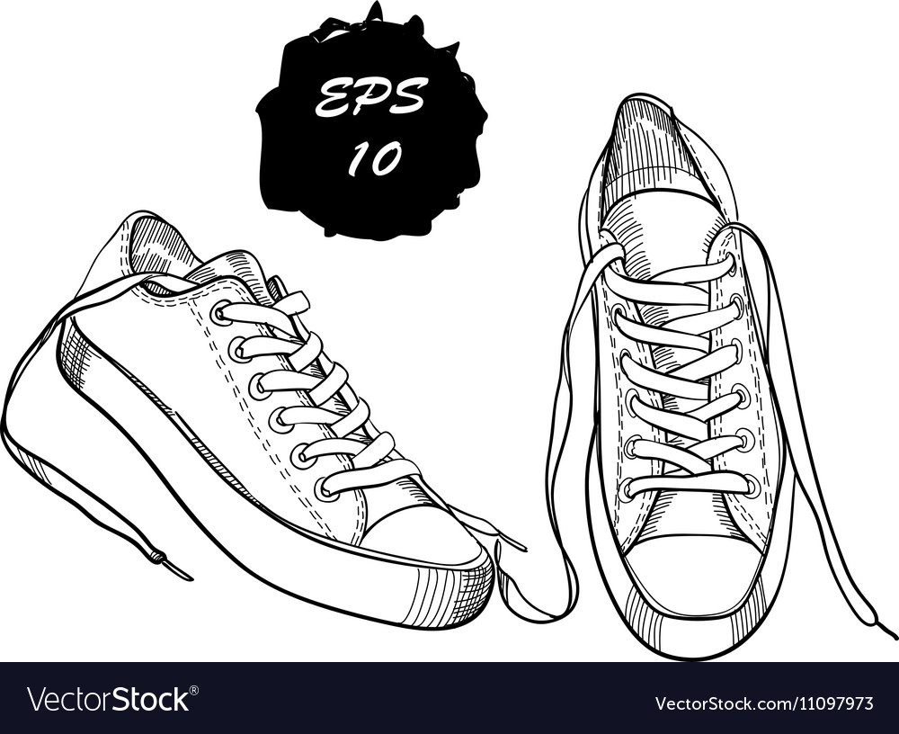 Hand drawn graphic sport shoes vector