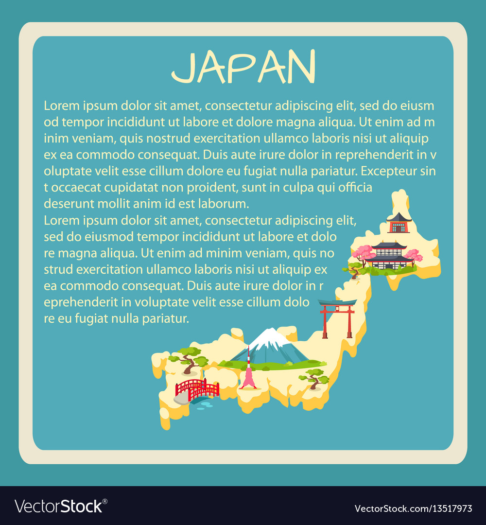 Japan framed touristic banner with text vector