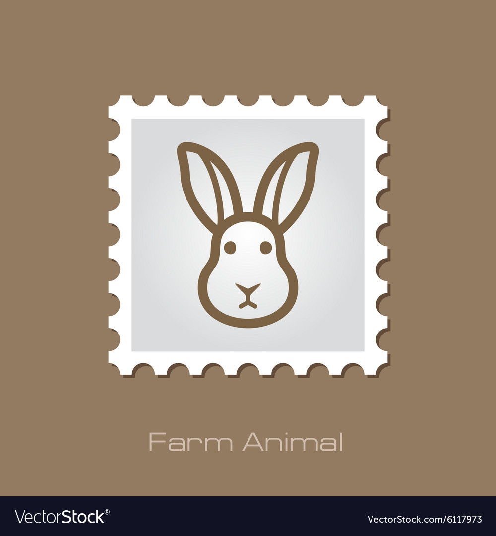Rabbit stamp animal head vector