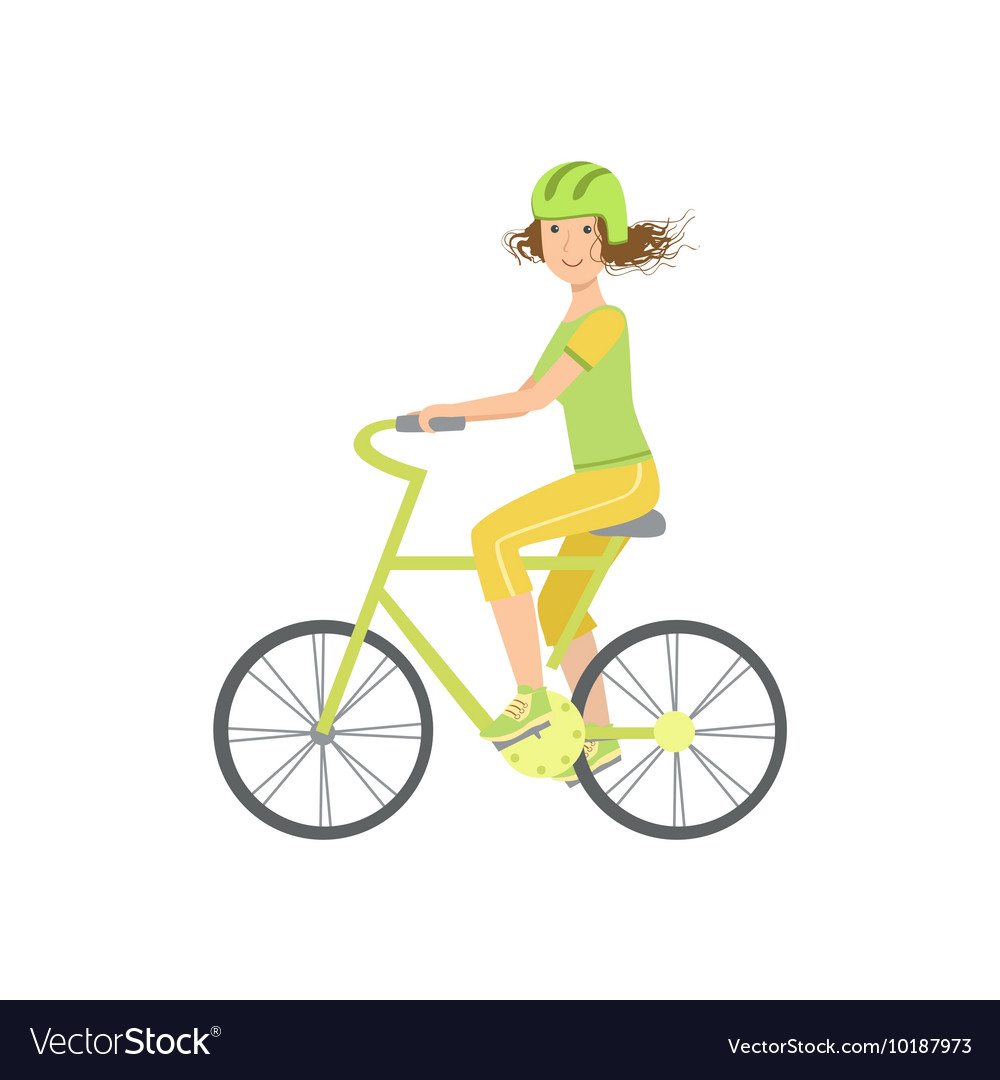 Woman riding a bicycle in helmet vector