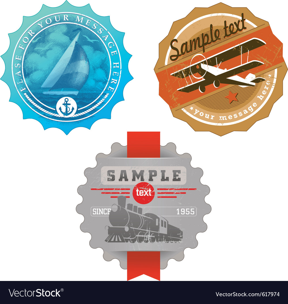Vintage labels with retro transport vector