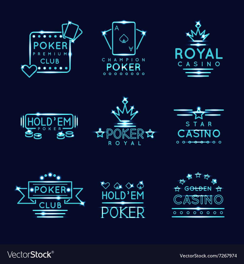 Vintage neon hipster poker club and casino signs vector