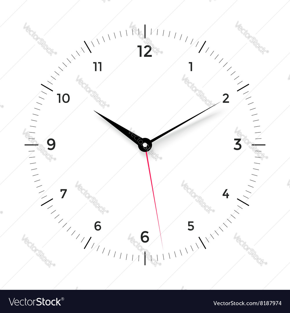 White clock face with black and red pointer on vector