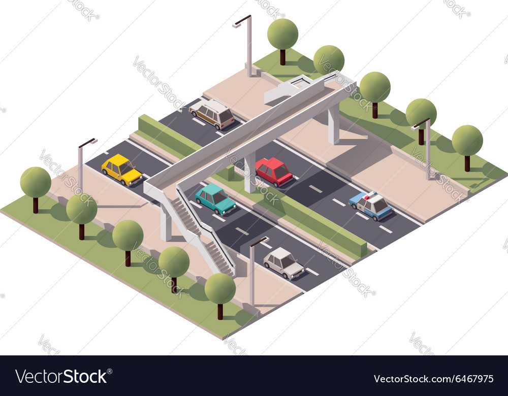Isometric pedestrian bridge vector