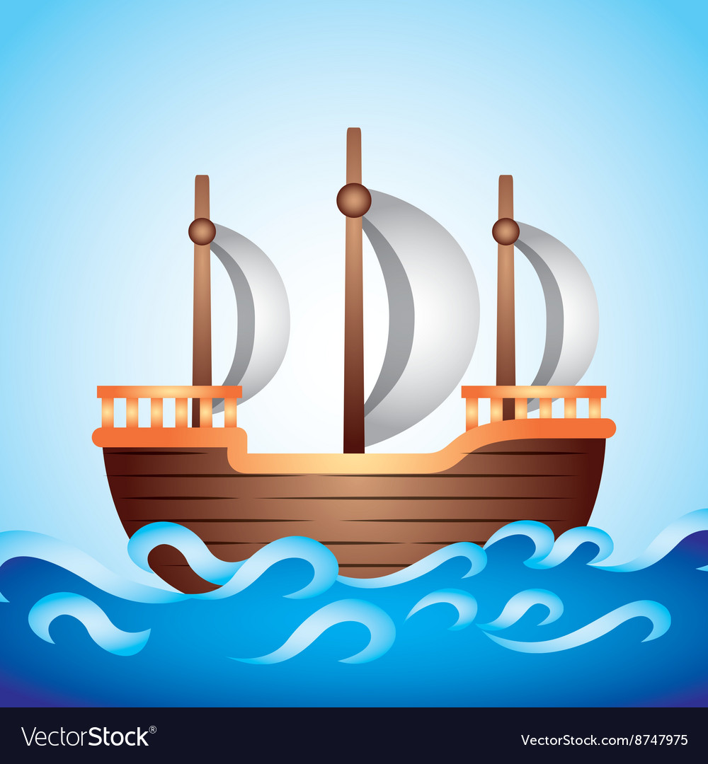 Ship old design vector