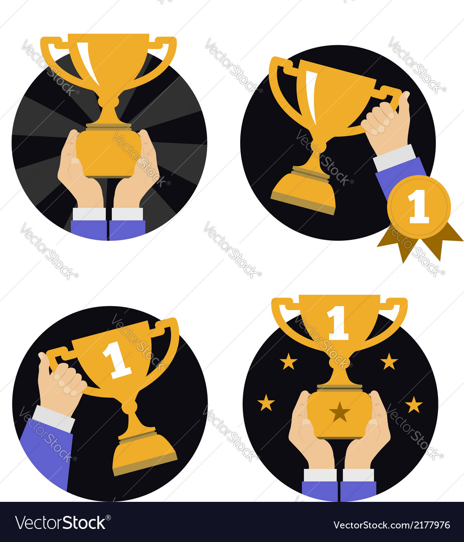 Hand holding golden trophy vector