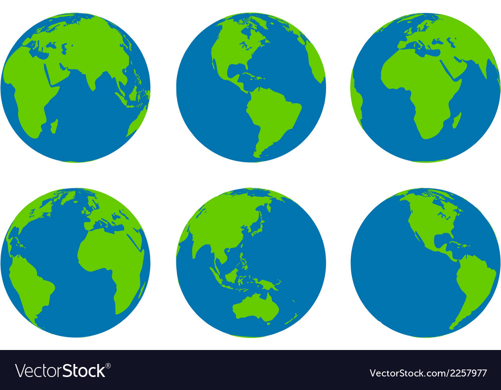 Six earth globes vector