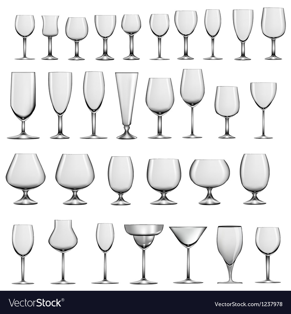 Set of empty glass goblets and wine glasses vector