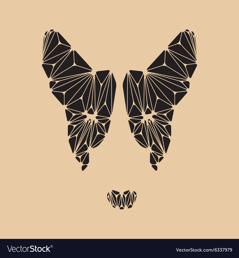 Black bull terrier face polygon vector