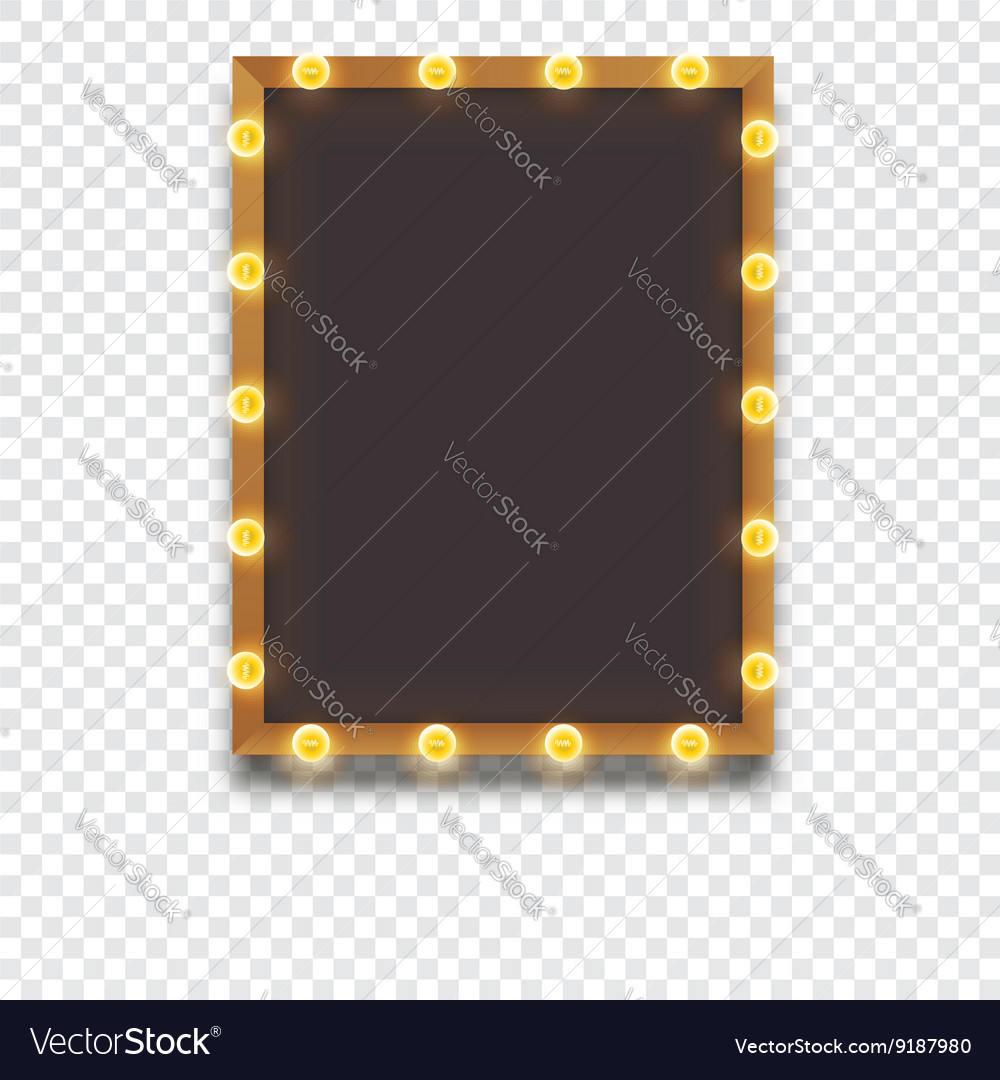 Glowing frame with light bulbs vector