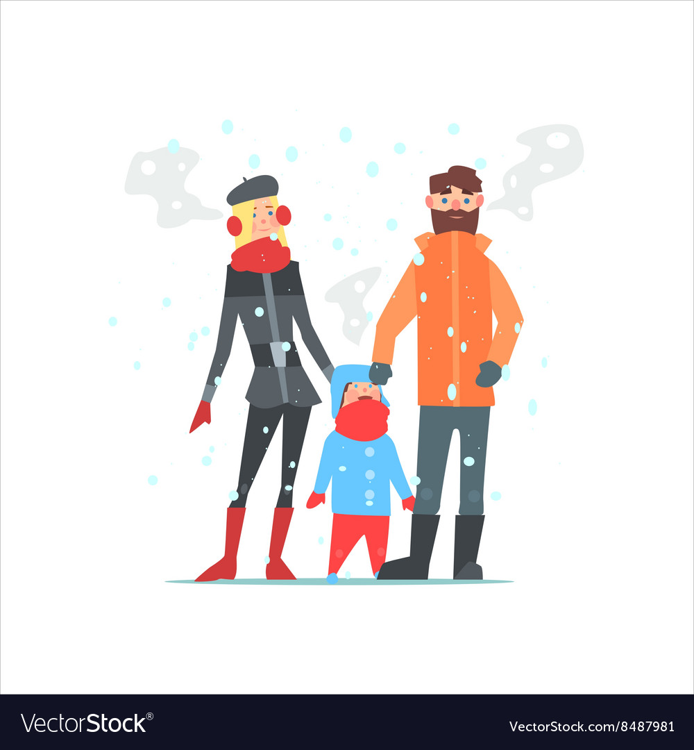 Family outside in winter vector
