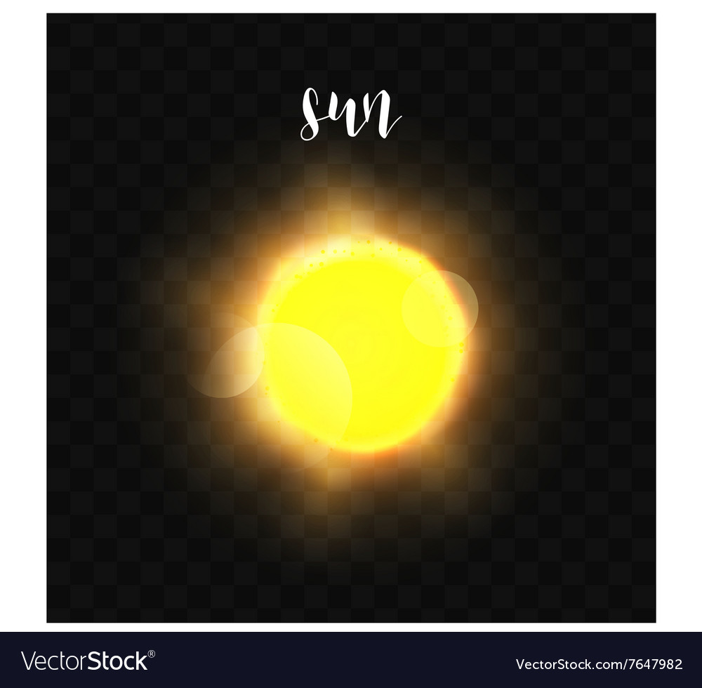 Realistic glowing sun planet isolated glow with vector