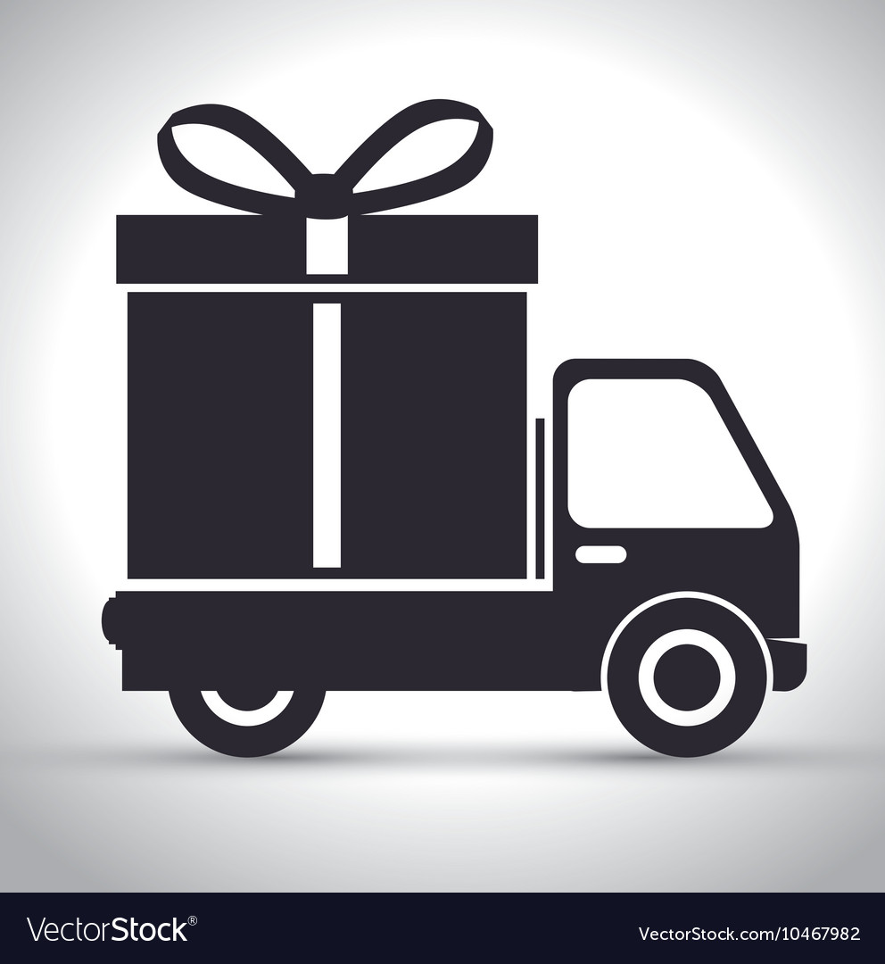Truck with gift icon vector