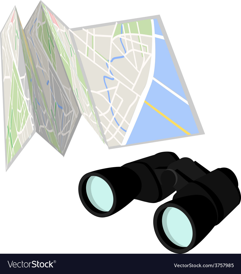 Road map and binoculars vector