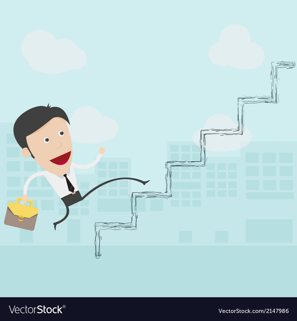 Businessman in white shirt walks up the ladder vector