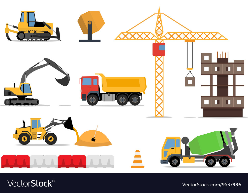 Construction site building a house  flat vector