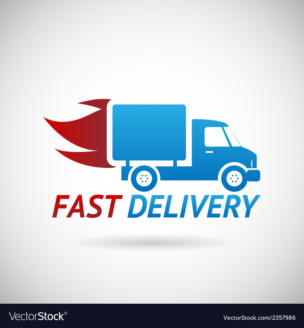 Fast delivery symbol shipping truck silhouette vector
