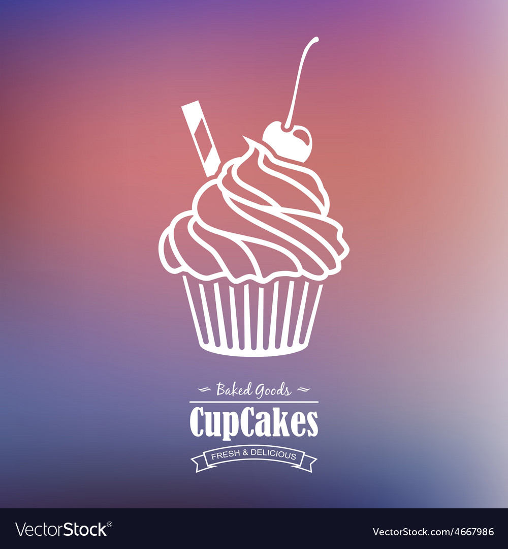 Sweet cupcake background with text badge vector