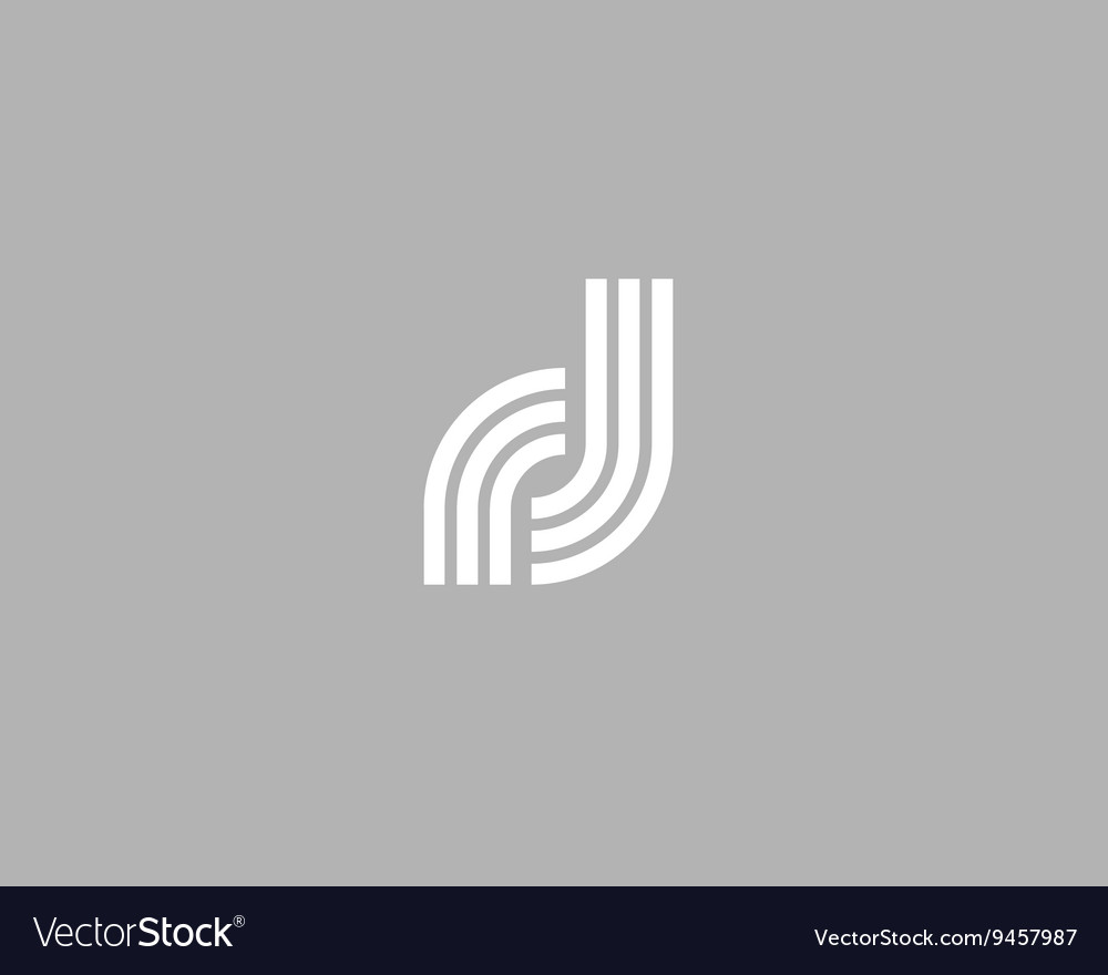 Line letter d logotype abstract moving airy logo vector