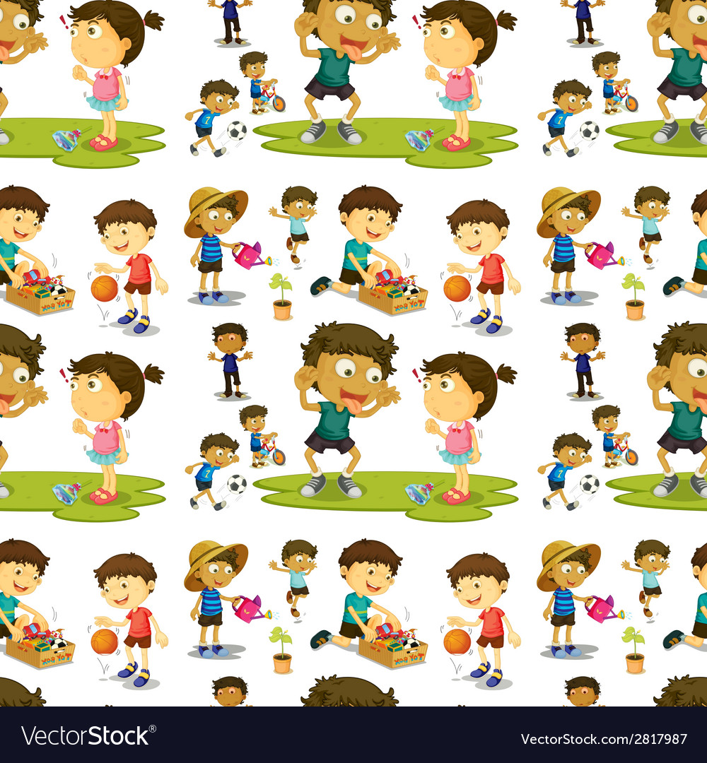 Seamless children vector