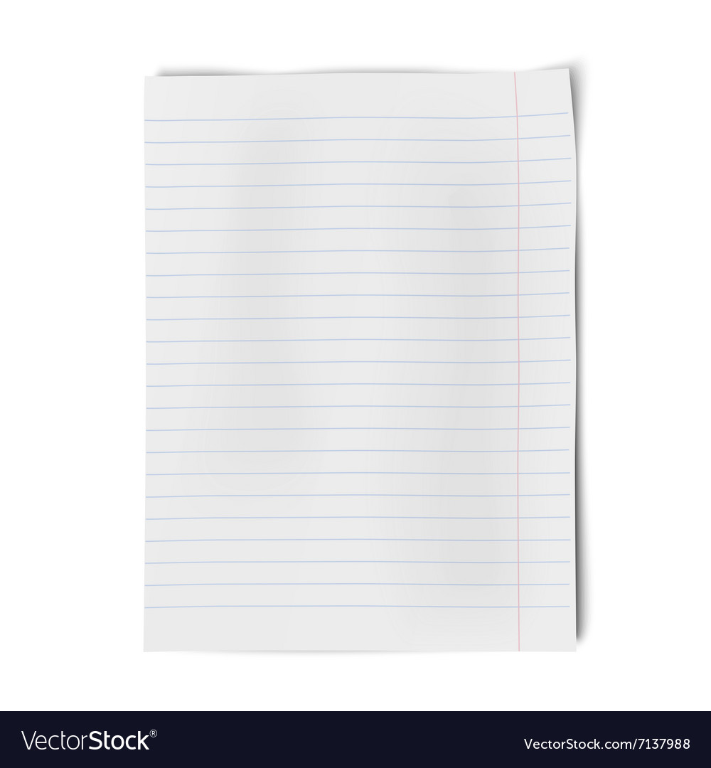 Notebook paper isolated on white background vector