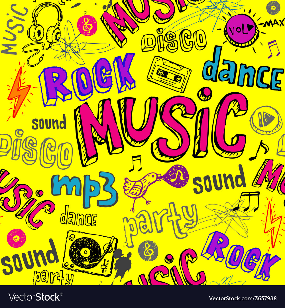 Seamless yellow music background vector