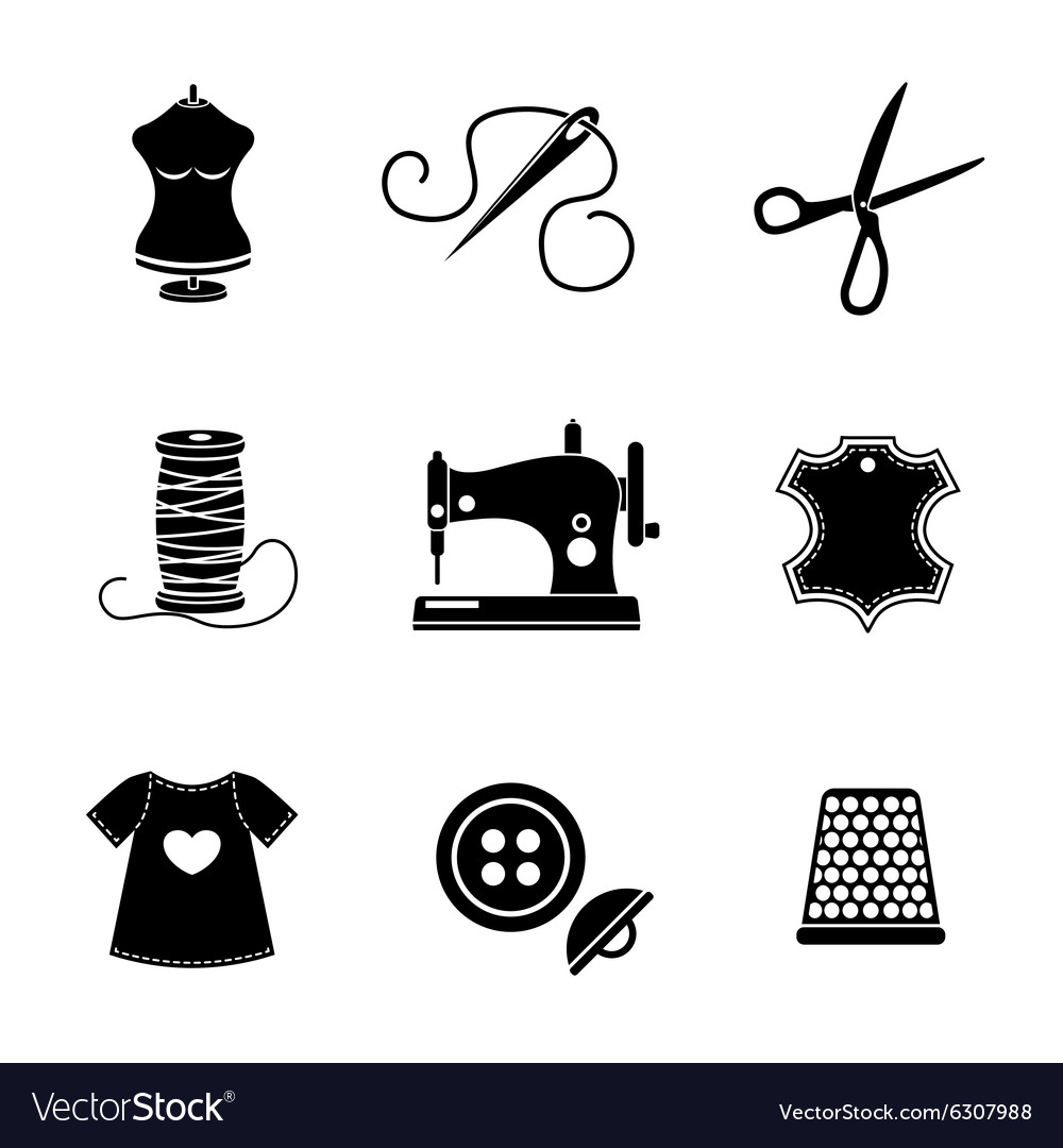 Set of sewing icons  machine scissors thread vector
