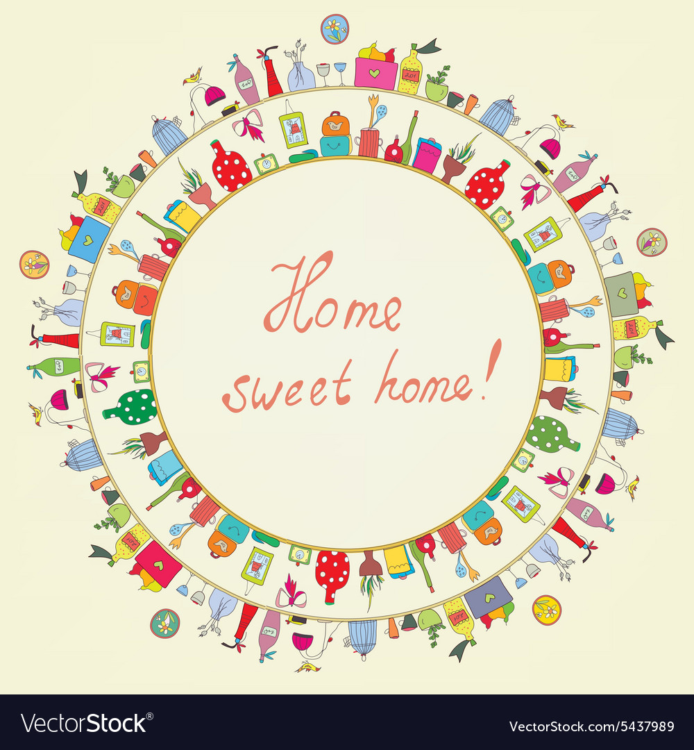 Home sweet  funny graphic card vector