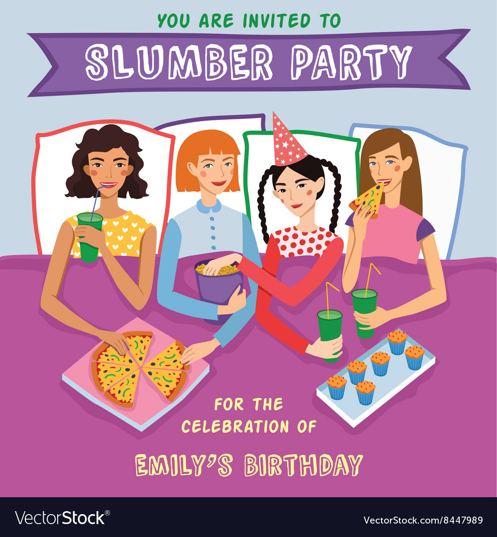 Slumber party birthday invitation with four cute vector