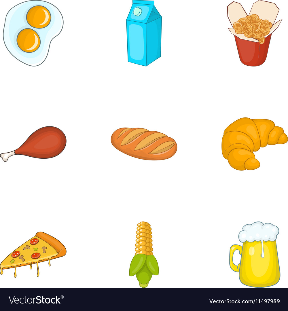 Unhealthy food icons set cartoon style vector
