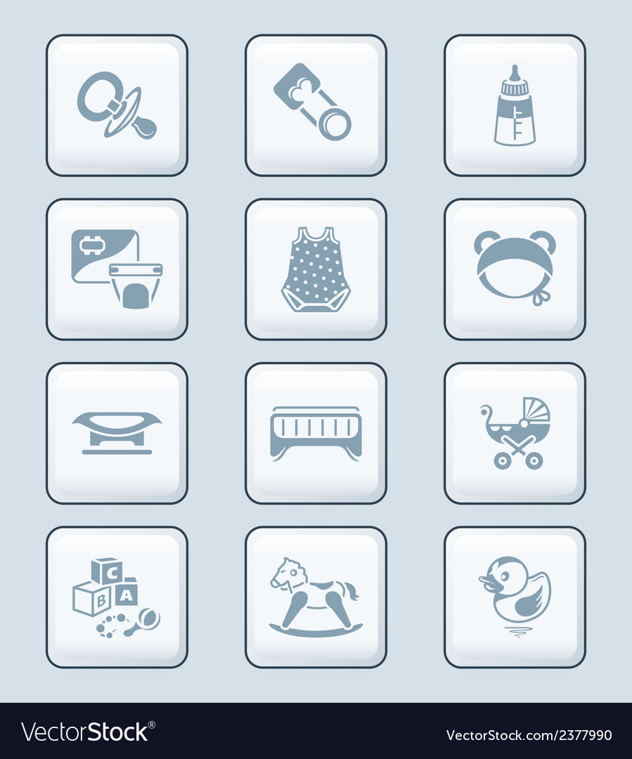 Baby objects icons  tech series vector