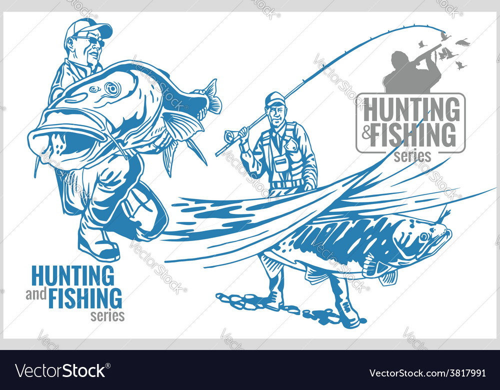 Hunting and fishing vintage emblem vector
