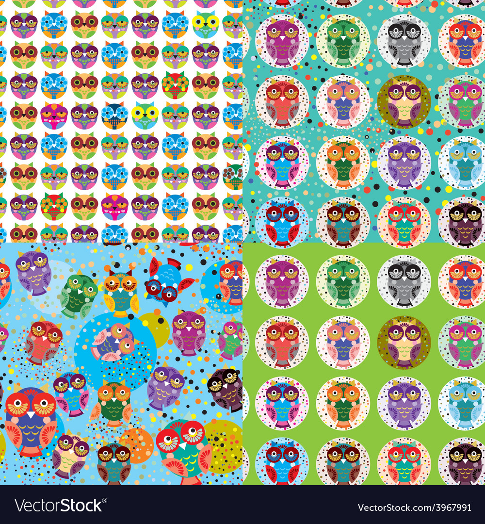 Set of 4 seamless pattern with owls vector