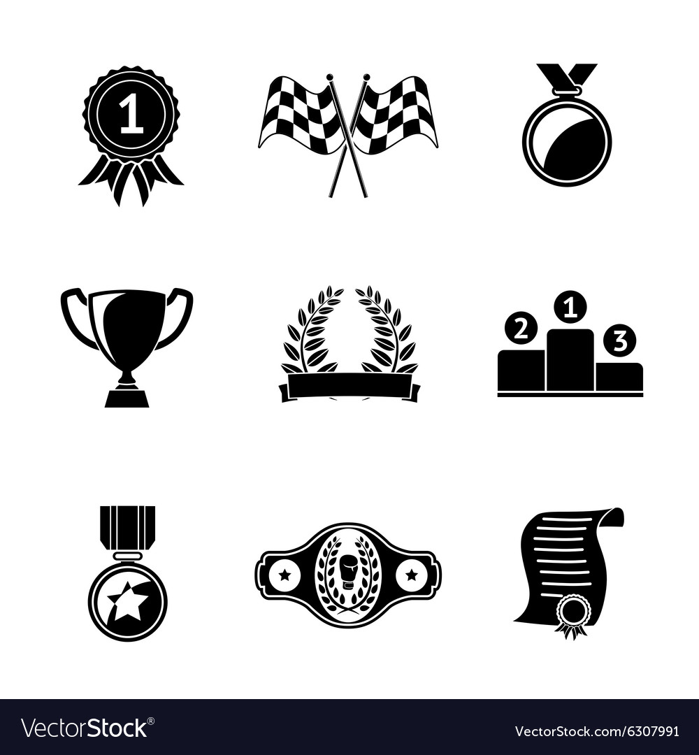 Set of winners icons  goblet medal wreath race vector