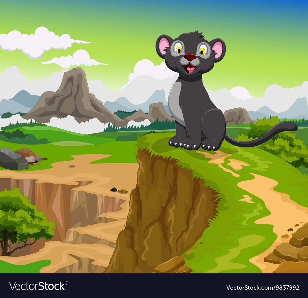 Funny black panther cartoon with beauty mountain vector
